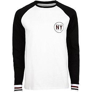 Weißes, langärmliges Slim Fit T-Shirt