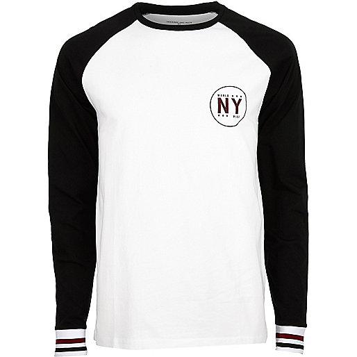 White slim fit long sleeve T-shirt
