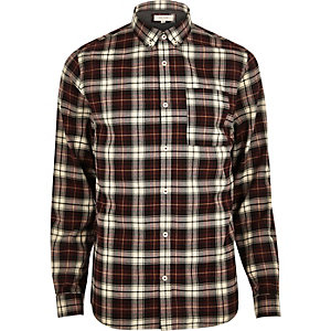 Red and white casual check shirt