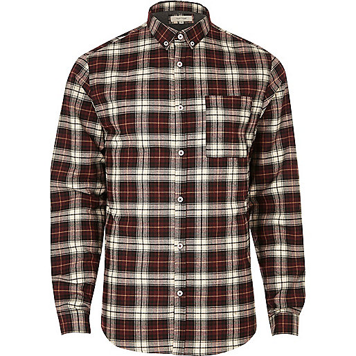Red check casual shirt
