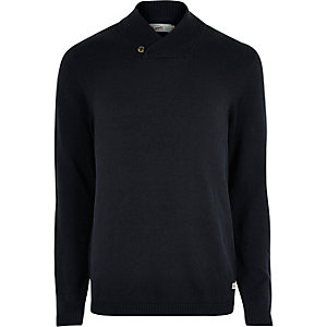 Jack & Jones navy knitted jumper