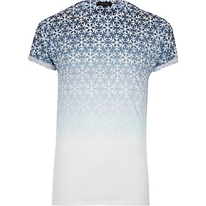 White faded snowflake T-shirt