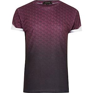 T-shirt noir délavé à imprimé géométrique