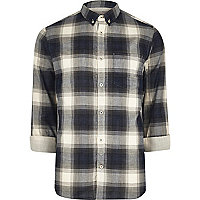 Blue casual check shirt