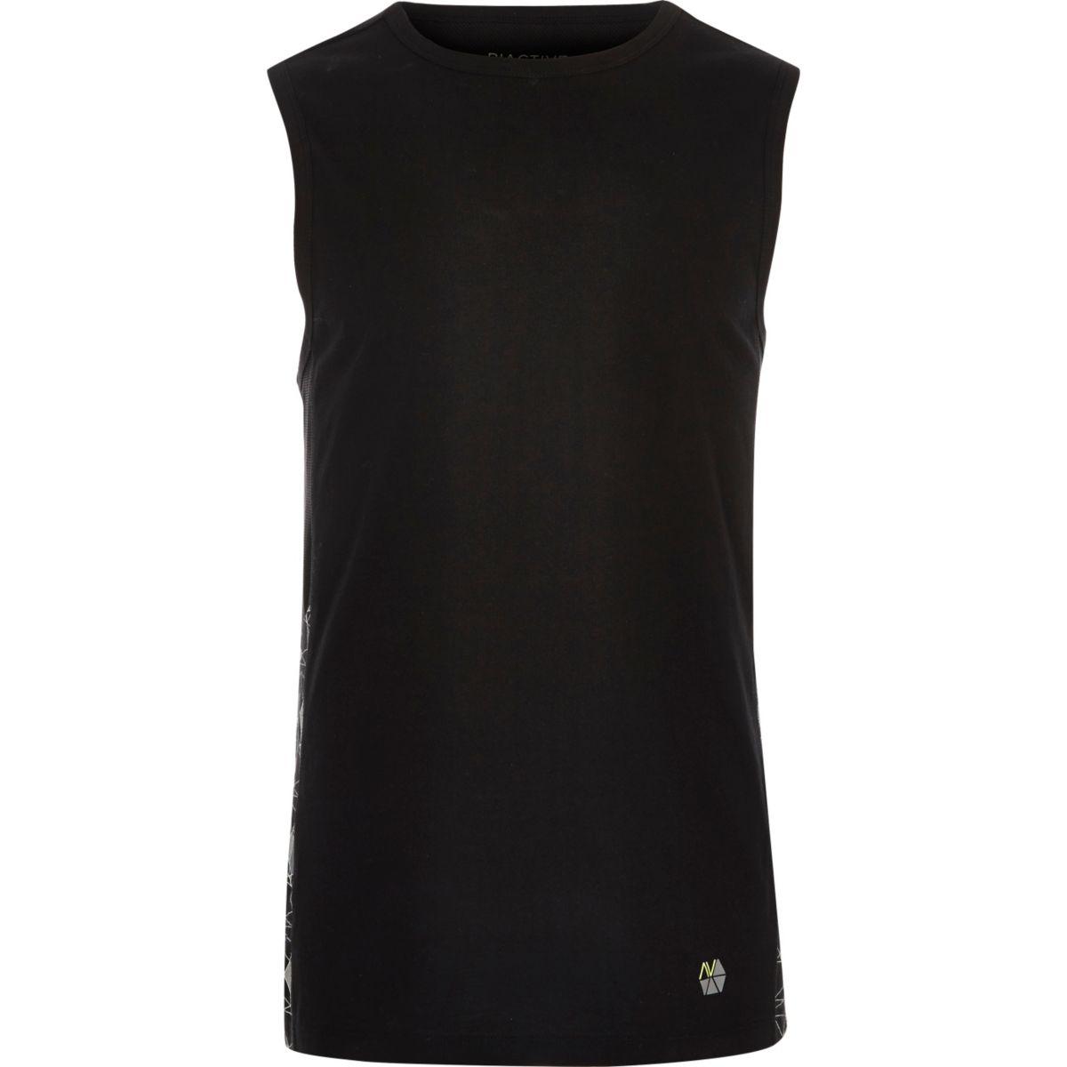 RI Active black mesh print gym tank top