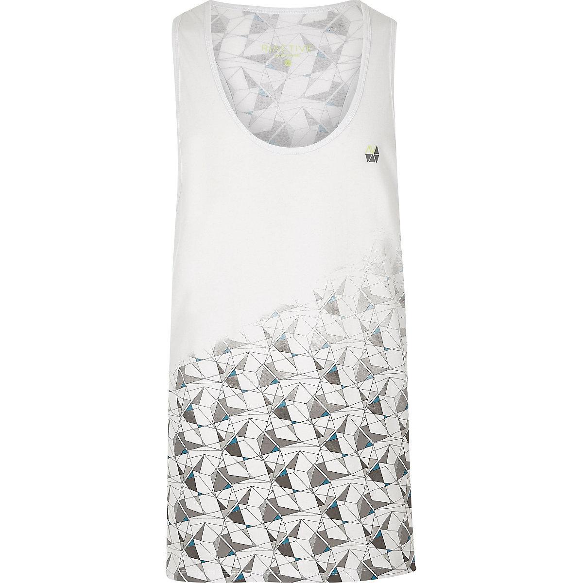 RI Active white print gym vest