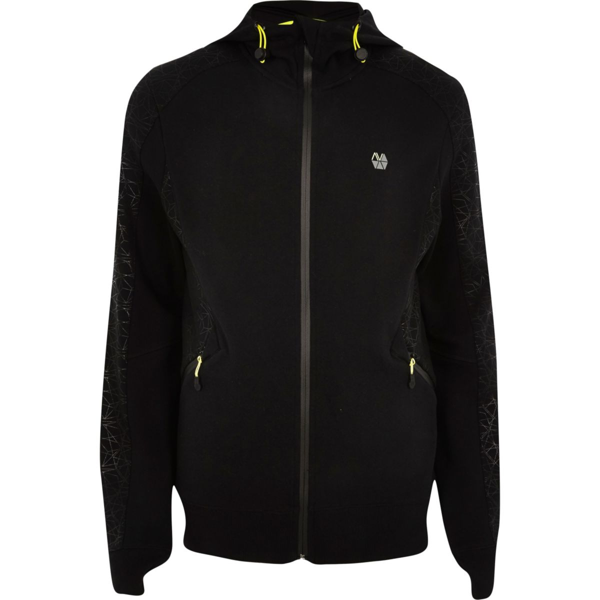 RI Active black fluro zip sports hoodie