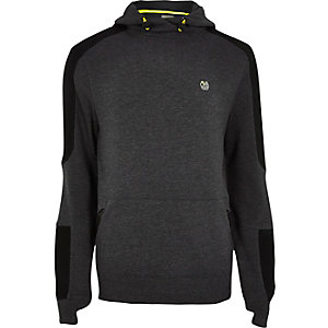 RI Active grey panel fluro sports hoodie