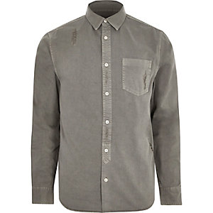 Grey distressed denim shirt