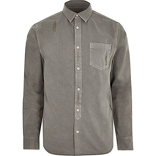 Grey distressed denim shirt