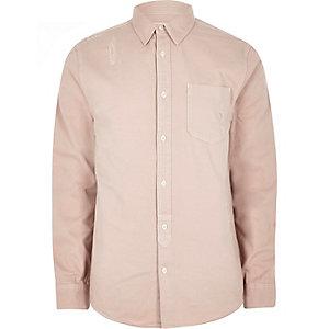 Roze distressed denim overhemd