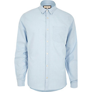 Blue concealed button-down Oxford shirt
