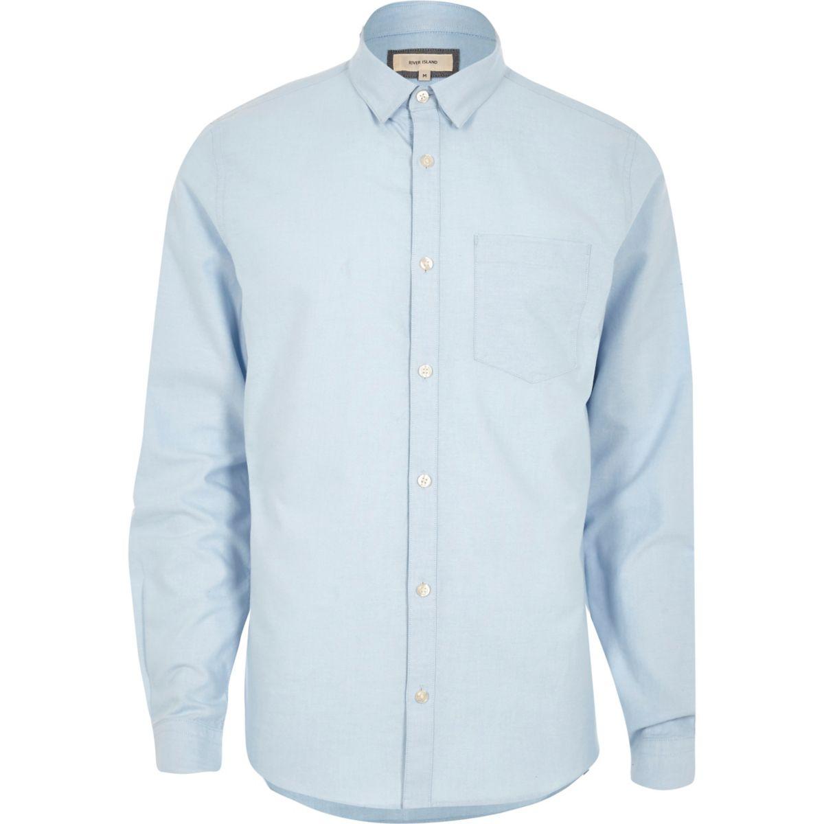 Chemise Oxford bleue boutonnée