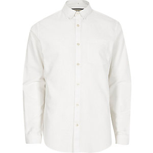 White concealed button-down Oxford shirt