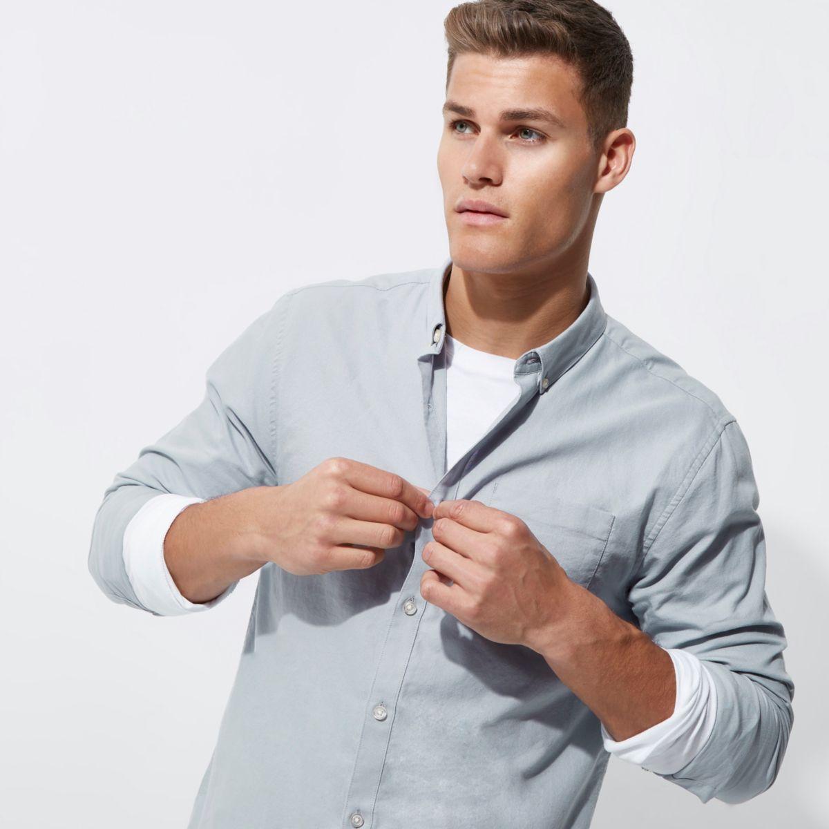 Blue grey casual Oxford shirt