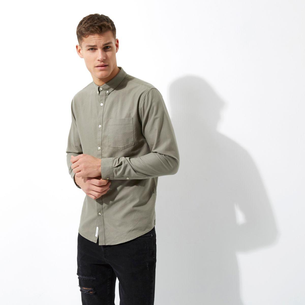 Khaki green casual Oxford shirt