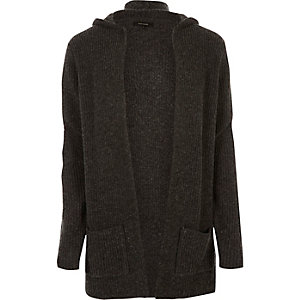 Dark grey open hooded cardigan