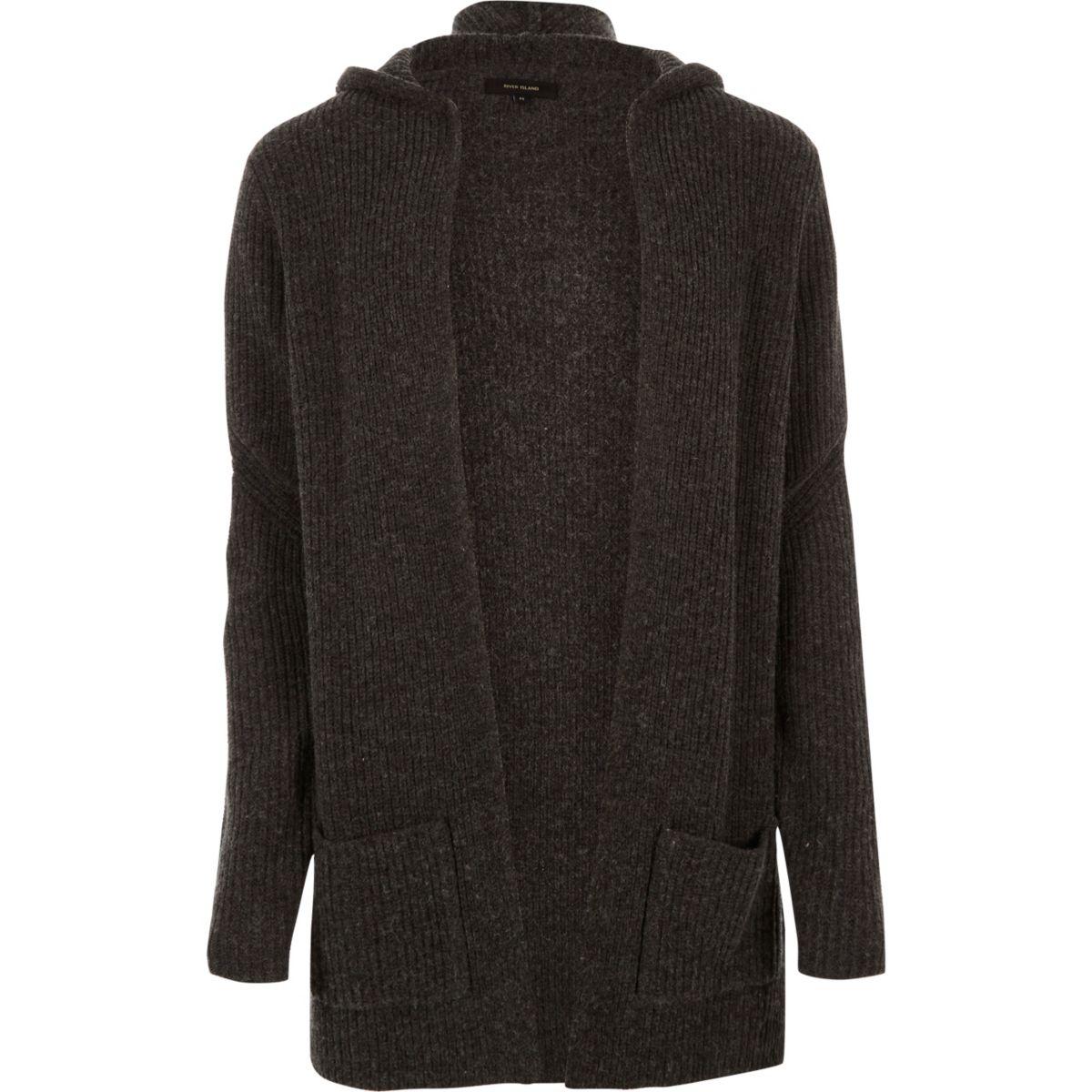 Dark grey open hooded longline cardigan