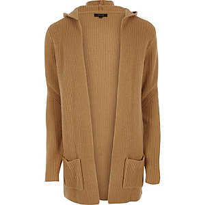 Camel brown open hooded longline cardigan