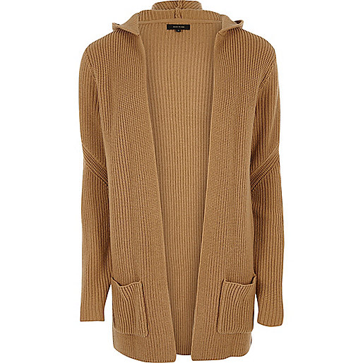 Camel brown open hooded cardigan