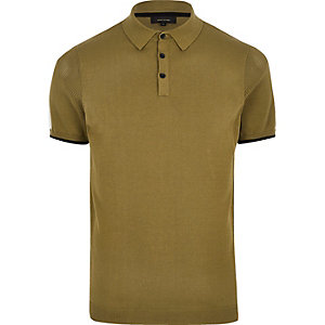 Olive green mesh panel polo shirt