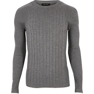 Grey mixed rib muscle fit sweater