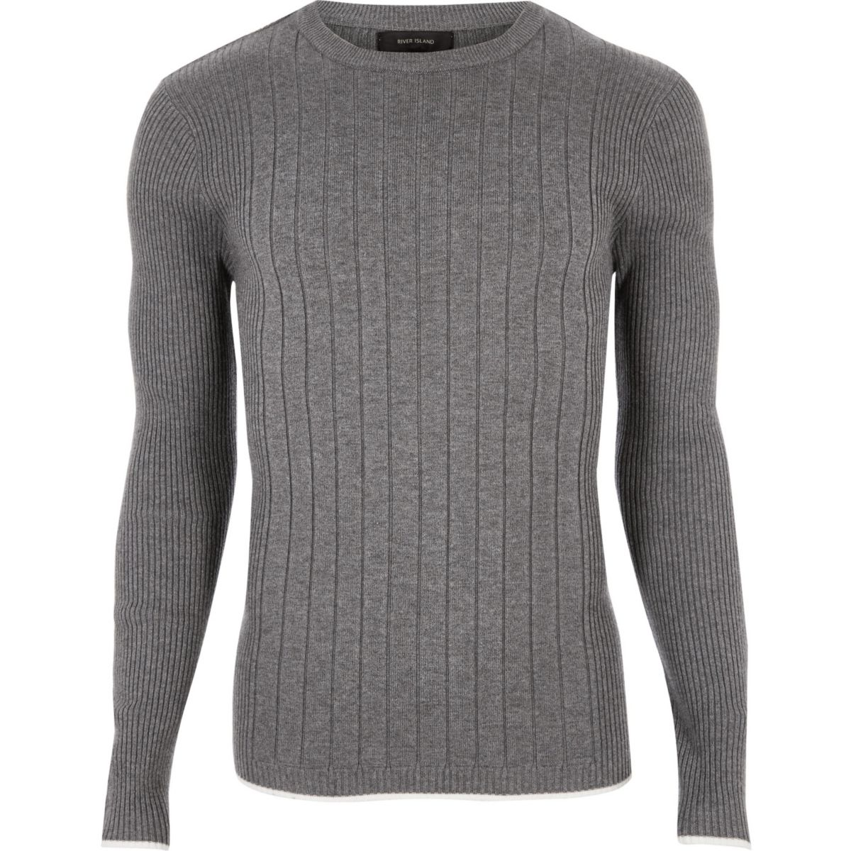 Grey mixed rib muscle fit jumper