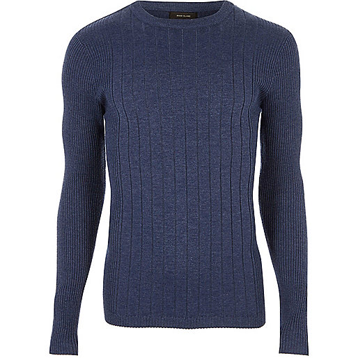 Blue mixed rib muscle fit sweater