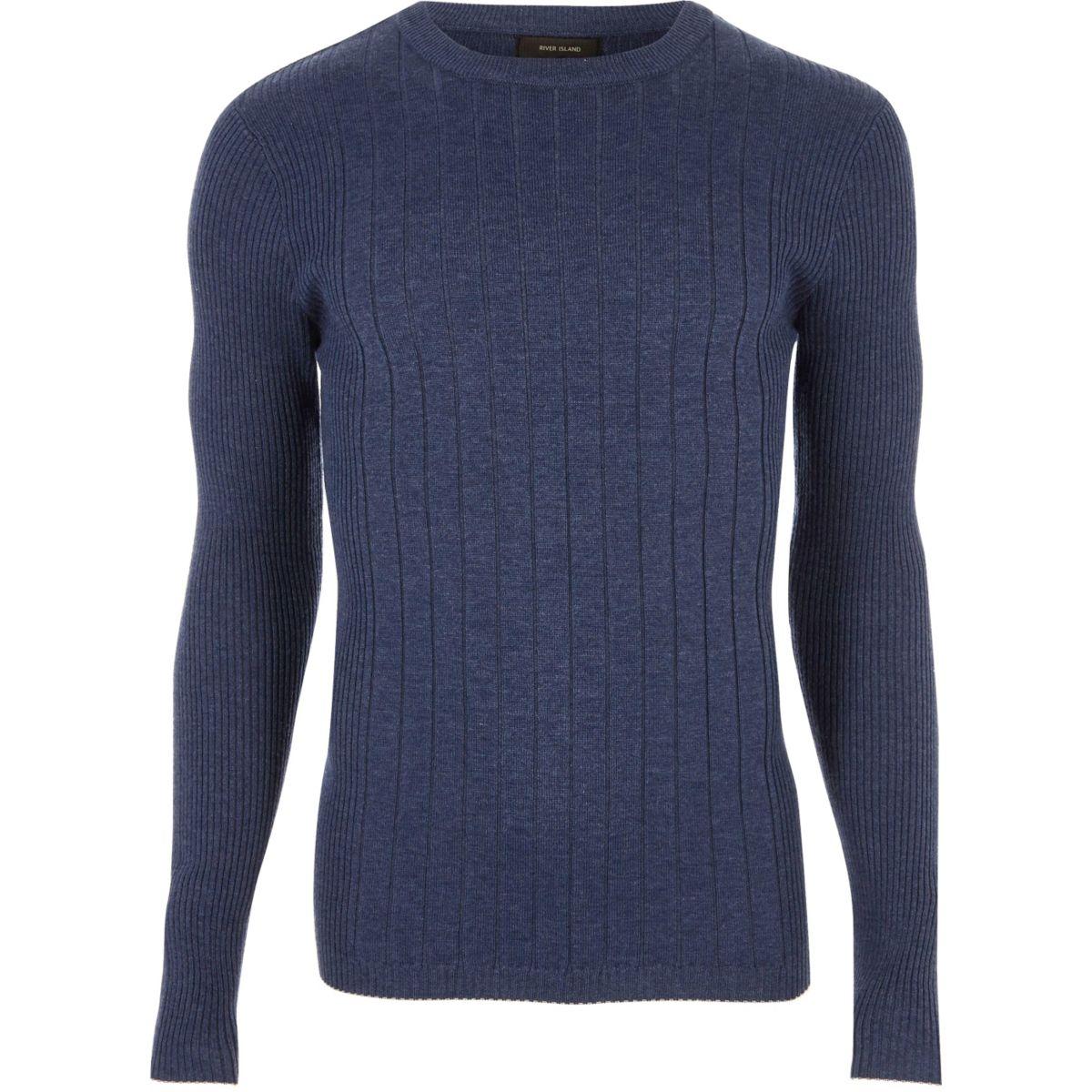 Blauwe geribbelde aansluitende pullover