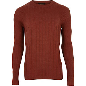 Dark orange mixed rib muscle fit jumper