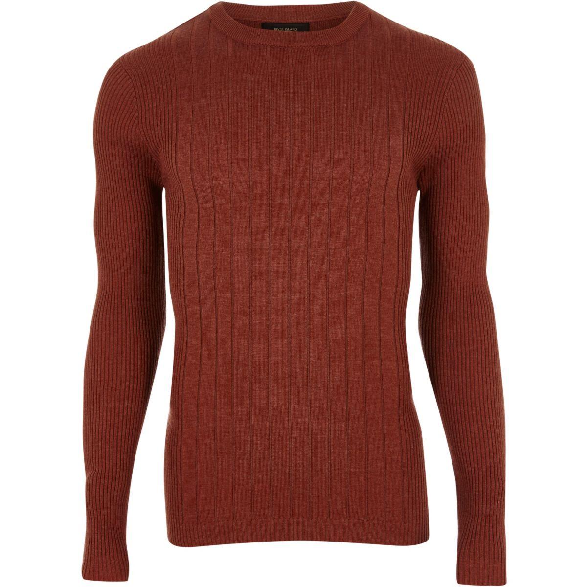 Dark orange mixed rib muscle fit sweater