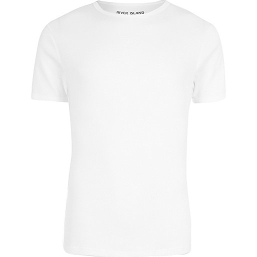 White muscle fit ribbed T-shirt