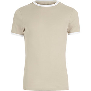 Stone muscle fit ribbed T-shirt