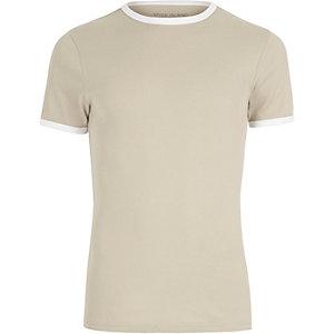 T-shirt coupe près du corps côtelé grège