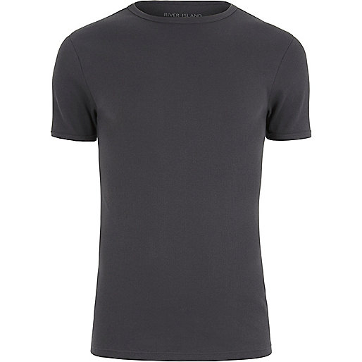 Charcoal grey muscle fit ribbed T-shirt