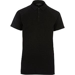 Polo ajusté gaufré noir