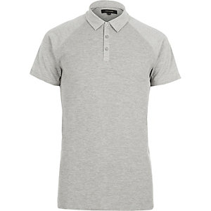 Grey marl waffle slim fit polo shirt