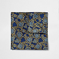 Navy blue paisley print pocket square