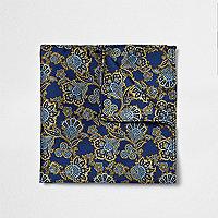 Pochette imprimé cachemire bleu marine