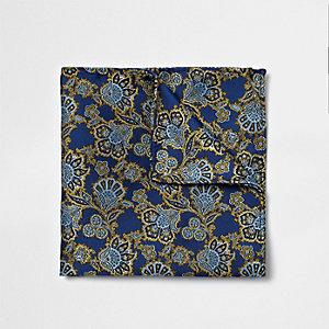 Navy blue paisley print pocket square