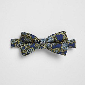Navy paisley print bow tie