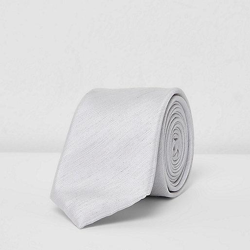 Grey textured tie