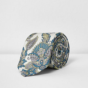 Cream William Morris print tie