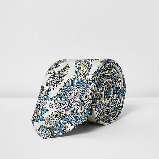 Cream William Morris print tie