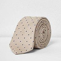 Beige, gepunktete Krawatte