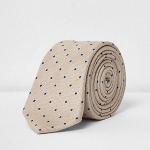 Beige polka dot print tie