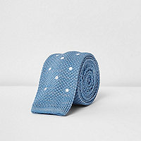 Blue knitted polka dot tie