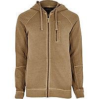 Stone zip pocket hoodie