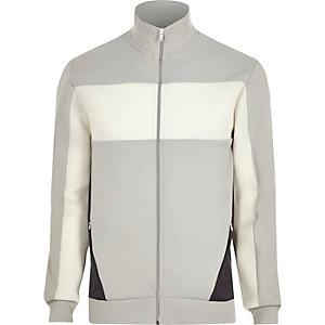 Veste de survêtement colour block gris clair avec tulle