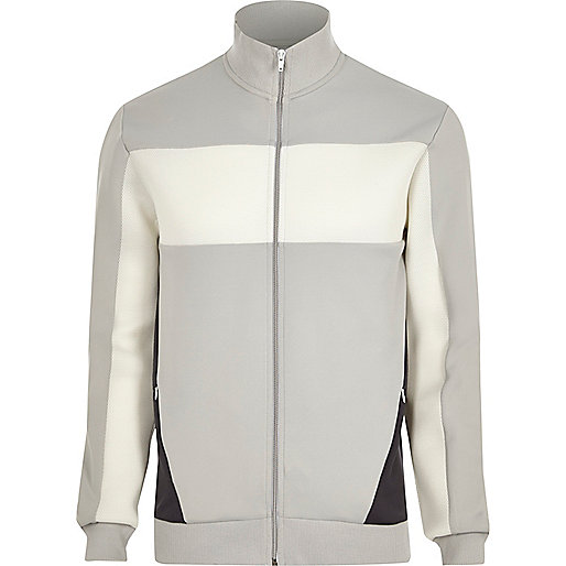 Light grey mesh color block track jacket